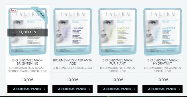 Talika soins ciblé, masque bio enzymes
